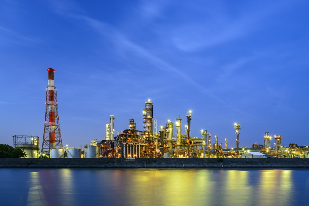 Oil refineries line a river in Yokkaichi, Japan. The city has been a center for the chemical industry since the 1930's..jpeg