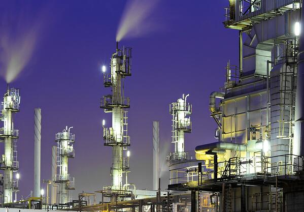 Oil refinery plant at night-1