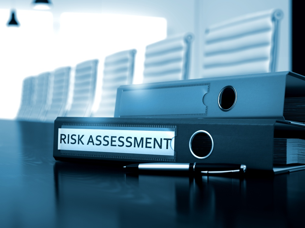 Risk Assessment. Business Concept on Blurred Background. Office Folder with Inscription Risk Assessment on Working Desktop. Risk Assessment - Concept. 3D.